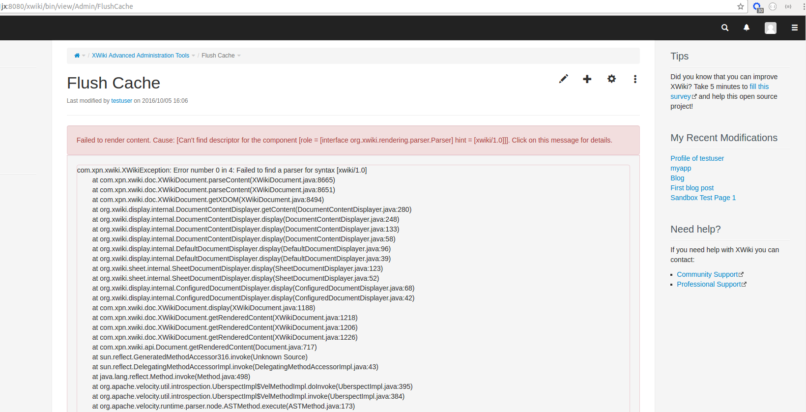 ADMINTOOL-45] Flush cache throws error regarding XWiki syntax