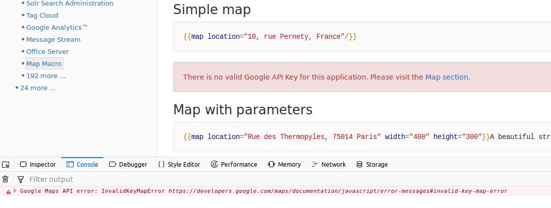 MAP-13] Maps not working because of missing API key - XWiki org JIRA